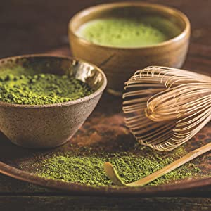traditional japanese matcha powder with whisk