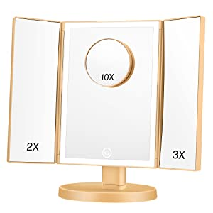 magnified makeup mirror with lights