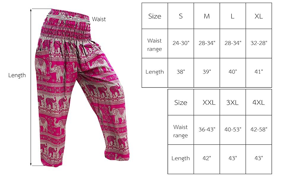 Viscose Smock Pants Measurements