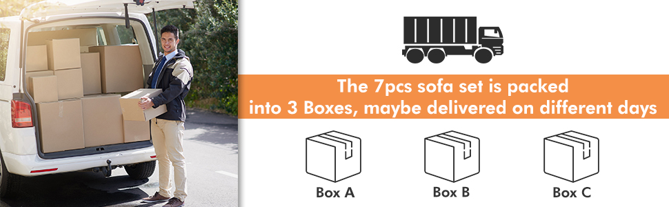 The 7pcs Sofa set is packed into 3 boxes