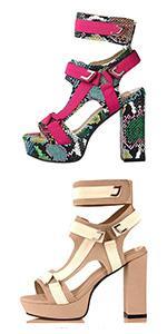 high heel sandals for women chunky heel sandals open toe slingback ankle strap platform sandals