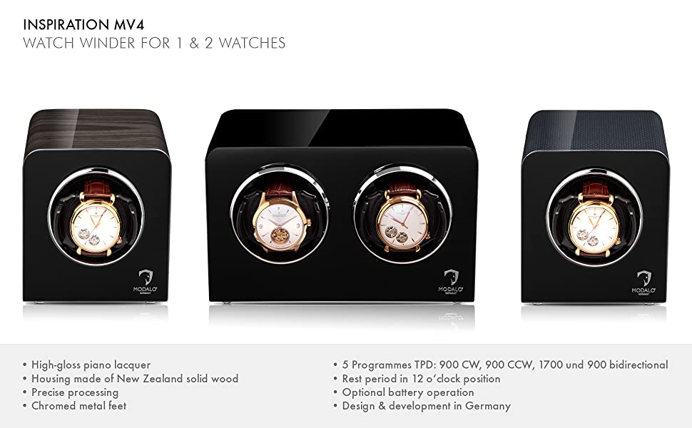 Watch winder for 1 or 2 watches, Inspiration Modalo