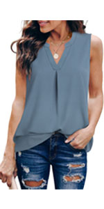 women lady casual v neck summer dressy tank top sleeveless work blouses shirt tunic camisole