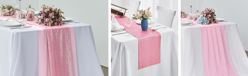 Ingeniously matched with the pink sequin table runner