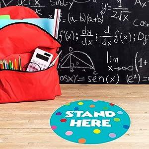 11 Stand Here Classroom Floor Decal Aqua