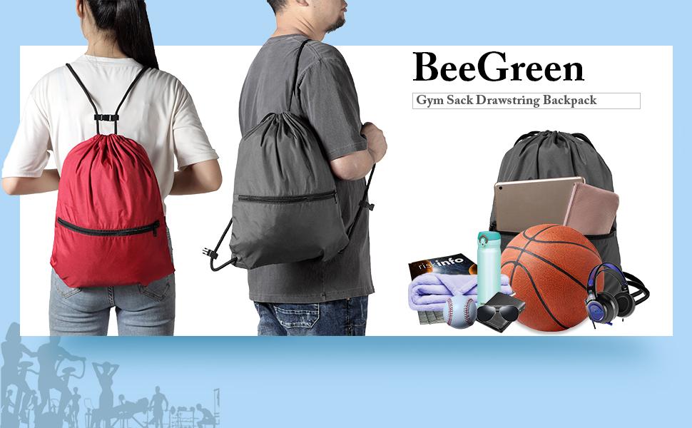 Drawstring Backpack Gym String Bag with Front Zipper Pocket