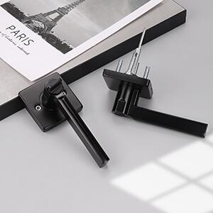 knobwell matte black privacy door handle interior