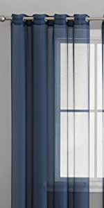 Semi-Sheer Grommet Collection Light Filtering Curtain Navy Blue