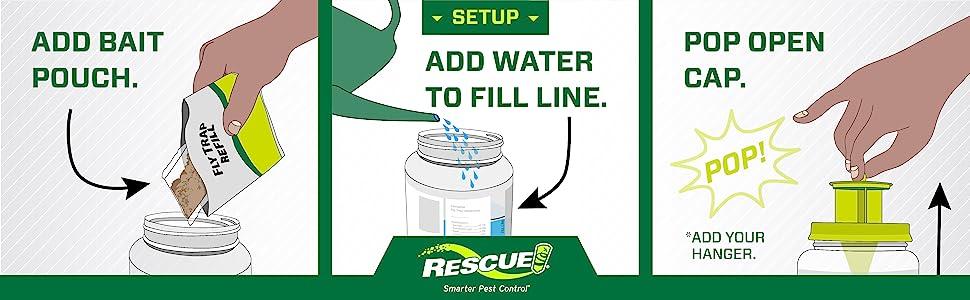 add bait pouch - add water to fill line - pop open cap