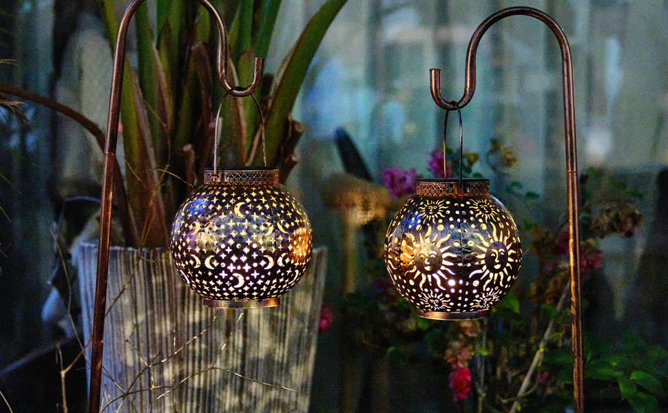 hanging lantern solar lights outdoor decorative