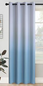 Grommet Greyish White to Light Blue Ombre Room Darkening Ombre Curtains