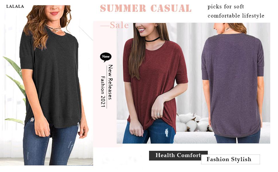 Women Summer T Shirt Tops Blouse Basic Loose Casual Top Long Sleeve Lace LR