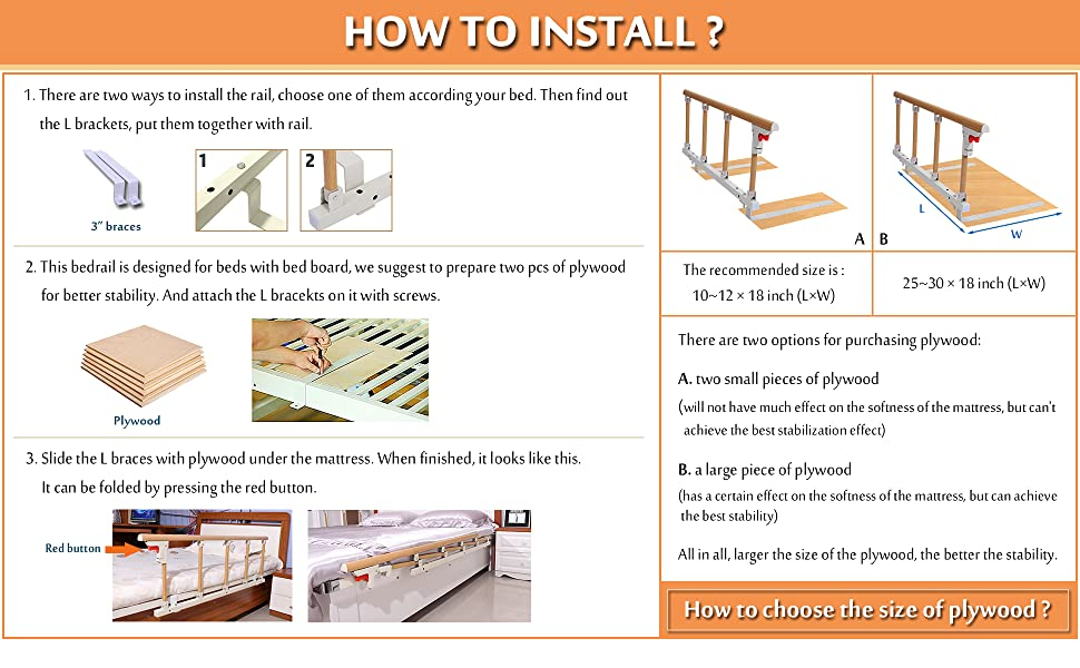 Bed Cane Rail for Seniors Elderly Adults Side Rails Bed Railing