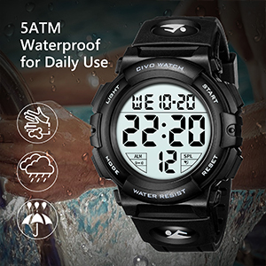 Mens Digital Sports Watches Military Big Numbers 50M Waterproof Large Face Army Wrist Watch