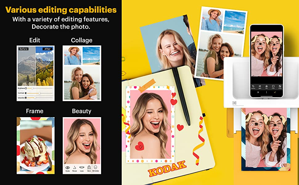 Kodak dock plus photo printer 4pass technology for iphone and android devices via bluetooth print