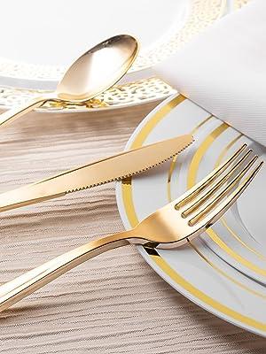 Plastic Cutlery Heavy Duty - 160 Piece Plastic Silverware - Plastic Utensils - Plastic Cutlery