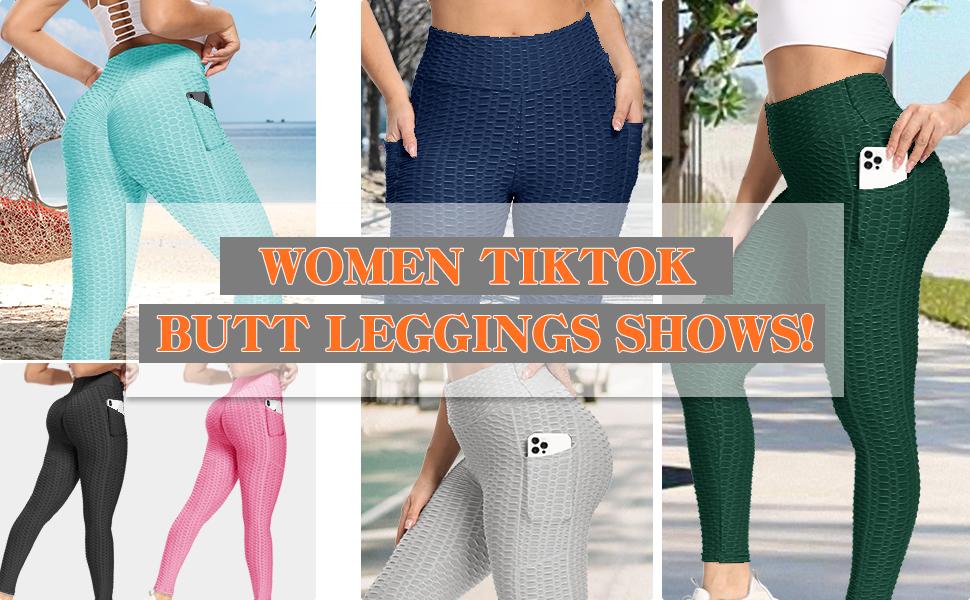 pockets tiktok leggings butt booty women high waist pants enhance lift scrunch yoga workout