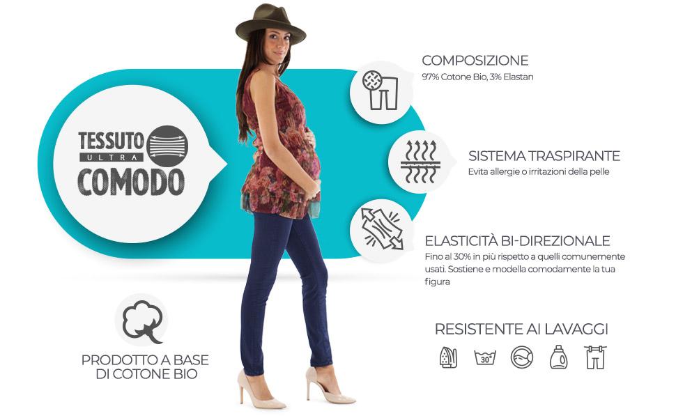 Tessuto ultra comodo 97% Cotone Bio - 3% elastane. Evita allergie o irritazioni della pelle