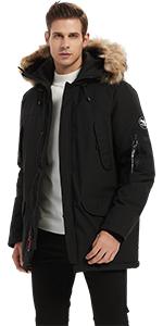 Molemsx Menamp;#39;s Down Alternative Jacket Fur Hooded Long Parka Padded Coat