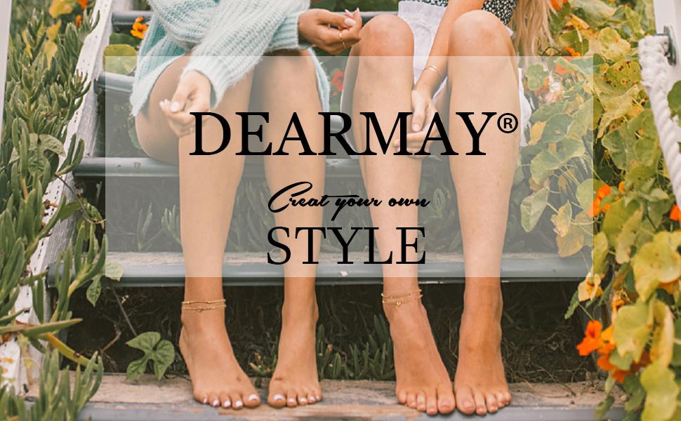 DEARMAY Gold Anklets for Women 18K Gold Filled Initial Letter Anklets