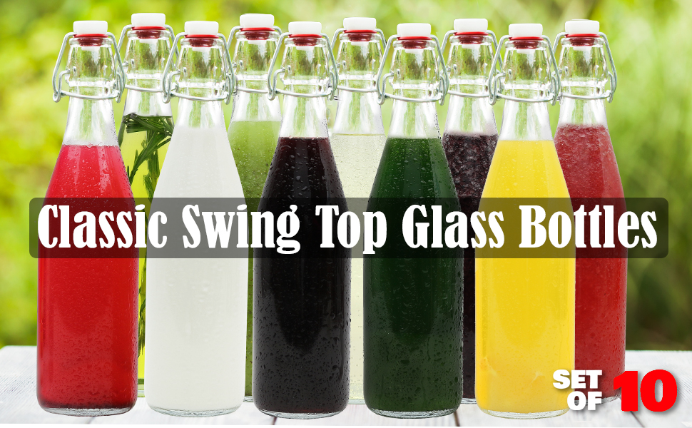 Classic swing top glass bottles set of 10