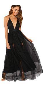 Plunging Neck Spaghetti Strap Maxi Cocktail Party Dress