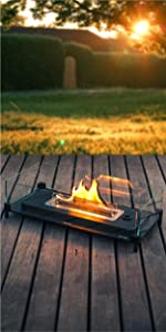 Mountain Tabletop Fire Pits with Glass Guard