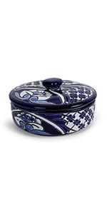 blue flowers tortilla warmer ceramic talavera