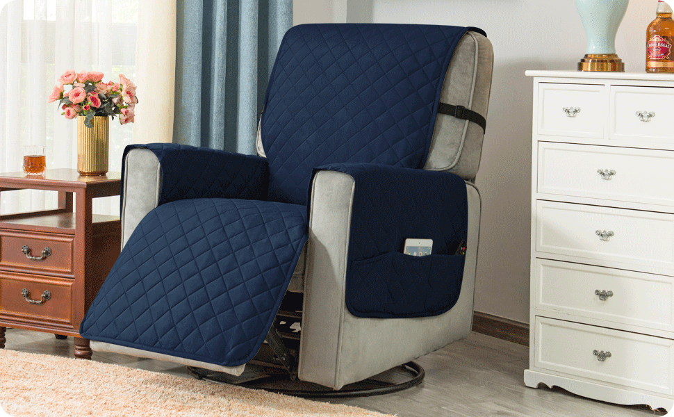 Ouka Recliner Slipcover (Large-Navy)