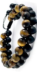 Domog bracelet pour homme pierre naturelle oeil de tigre et onyx noire bracelets tressés