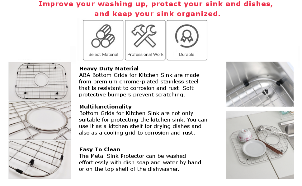 Metal Double Sink Grate Protector with Rear Drain