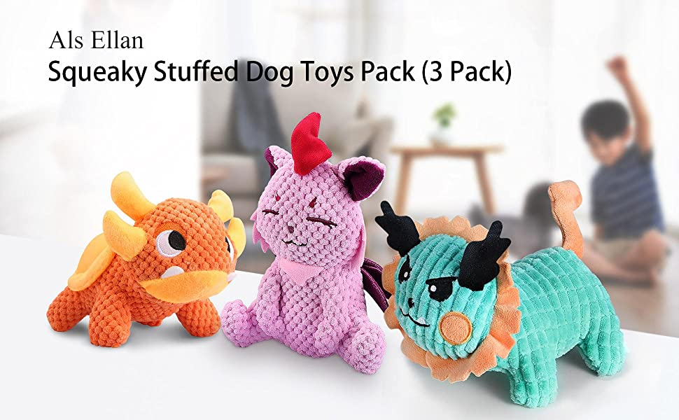 dog squeaky toys 3 pack