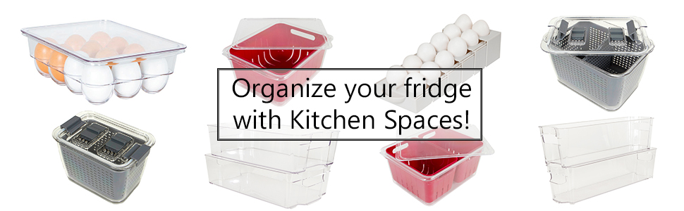Kitchen spaces egg trays, bins and colanders