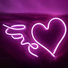 love and heart neon sign