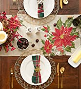 Poinsettia embroidered tablescape for a Christmas dinner