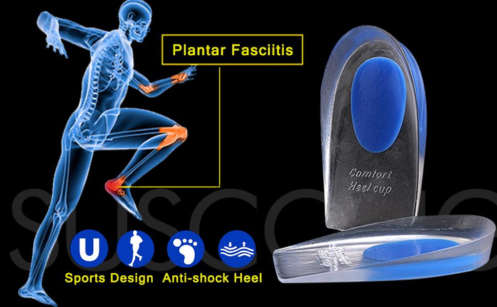 Heel Cups Plantar Fasciitis Inserts, Achilles Tendinitis, Foot Comfort Pads