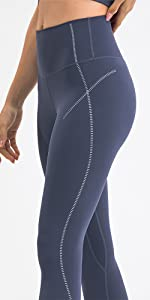 Leg Shapers Flower String Patterns High Waisted 7/8 Length Yoga Pants Leggings with Pocket for Women