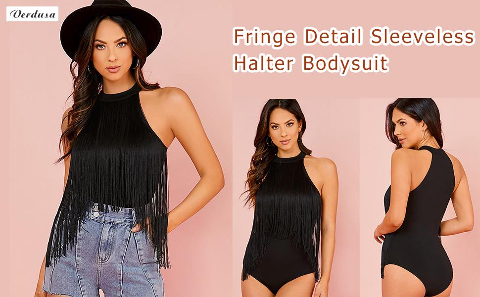 Fringe Detail Halter Bodysuit