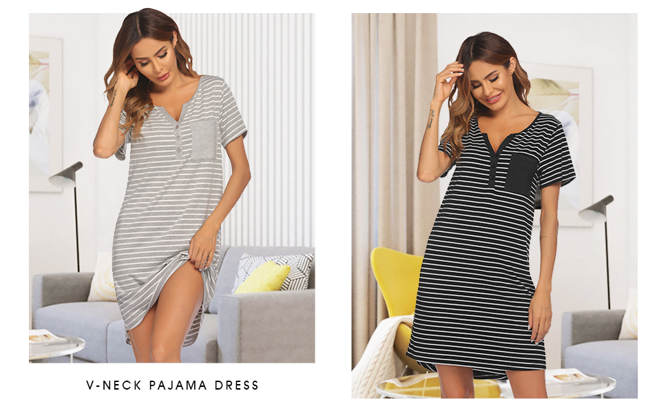 House Dress Women Cotton Short Sleeve Housecoat Button Down Nightgown