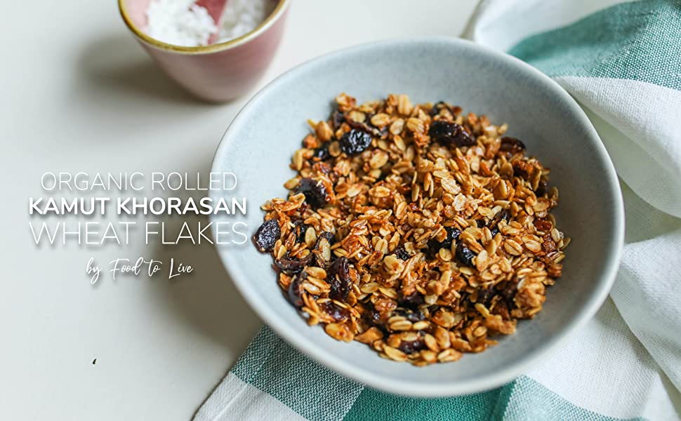 organic kamut granola in a bowl by food to live