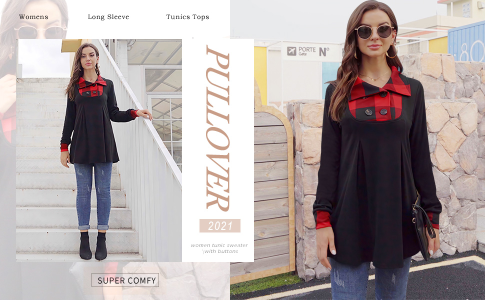 womens long sleeve tunic tops winter tunic sweater button up pullover for women lapel sweaters fall