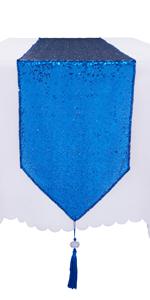 Royal Blue Sequin Table Runner Tassel