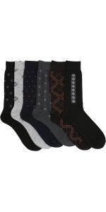men's pack of six printed crew socks