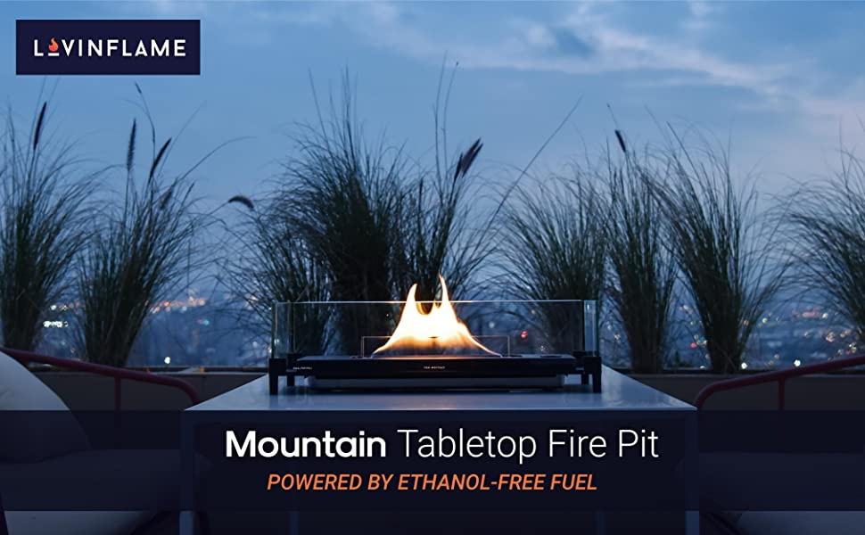 Mountain Tabletop Fire Pit POWERED BY ETHANOL-FREE FUEL