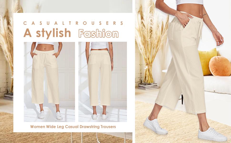 women linen drawstring pants
