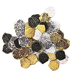 Seven Seas Pirates Toy Metal Treasure Coins - Adventure Games and Parties - Mixed Lot of 5 Colors