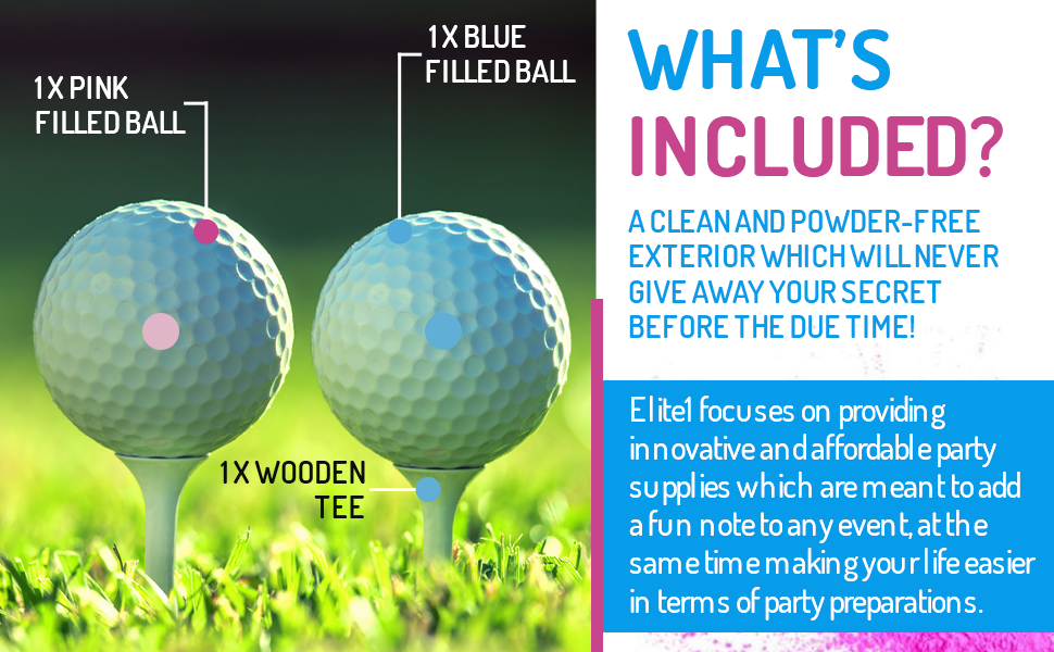 Elite1 Gender Reveal Golf Balls – 2Pcs Set Baby Gender Reveal Party Supplies