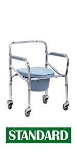 VMS Careline Foldable Commode Wheelchair-STANDARD