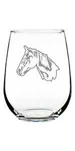 Design of a horse face in profile, engraved on a stemless wine glass.