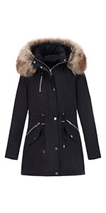 Women's Long Jacket with Faux Fur Collar